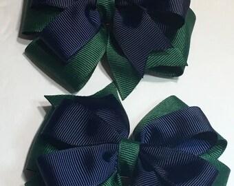 Navy Blue Hunter Green Pinwheel Hair Bow School Uniform Hair Bow Hair Clip
