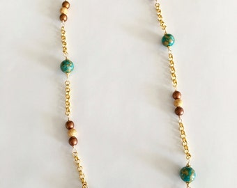 Turquoise Mosaic Bead Bronze Czech Glass and Gold Rolo Chain Necklace, Beaded Necklaces, Gifts for Her, Gold Necklaces