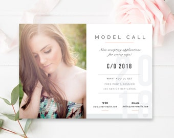 Model Call Template, Senior Photography Casting Call, Senior Representative, 5x7 Photography Marketing Template - INSTANT DOWNLOAD!