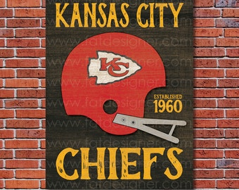 Kansas City Chiefs - Vintage Helmet - Art Print - Perfect for Mancave