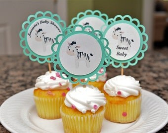 Zebra Themed Cupcake Toppers