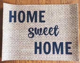Home Sweet Home Burlap Doormat