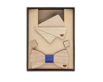 Clutch, bow tie and cufflinks made of cherry wood (Woodillon)