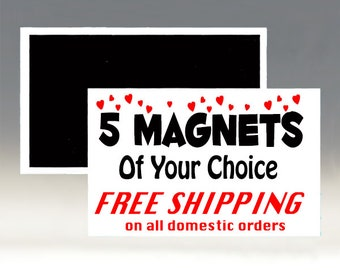 Five Magnets of Your Choice with Free Shipping: Funny Magnets; Sarcastic Magnets, Multiple Magnets; Free Shipping