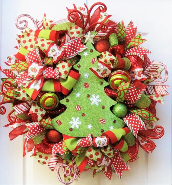 Deco Mesh Christmas Tree Wreath: Christmas Wreaths For Front Door Deco Mesh Christmas Wreath
