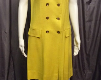 Vintage Yellow Nancy Greer Double Breasted Linen Dress.