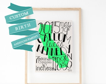 Custom Birth Announcement Print / Canvas, Personalized Birth Info Sign, Baby Shower Gift, Welcome Baby Card, Nursery Wall Art