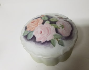 Hand Painted Powder Dish w/Pink Roses