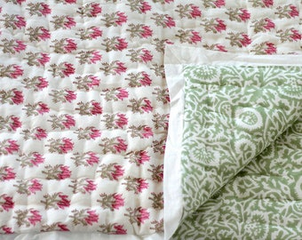 Baby quilt, Pink, green white infant quilt, baby, child,  reversible cotton block print nursery bedding