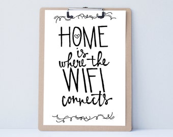 Hand lettered home wall art, print, typography gift, holiday present, bedroom home decor quote, guest room wall art, wifi sign, housewarming
