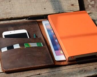 Handmade  iPad Mini Leather  and Large Moleskine  Cover, Personalized, , Moleskine Leather Cover,   iPad Mini  Leather Case, notebook Brown