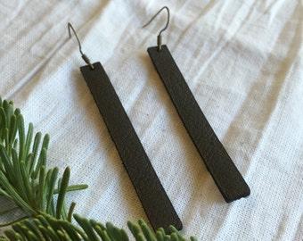 Handmade Leather Earrings - Leather Strip Earrings - Black Leather Earrings