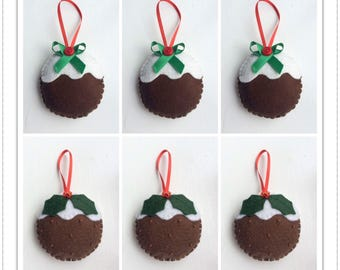 Felt Christmas Ornaments - Christmas Pudding Ornaments - Felt Christmas Puddings - Set of 6