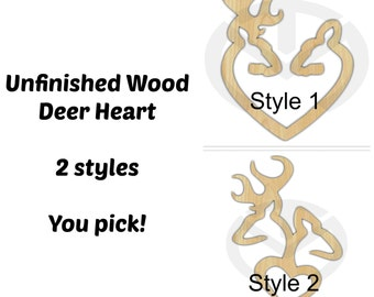 Unfinished Wood Buck and Doe Heart Laser Cutout, Wreath Accent, Door Hanger, Ready to Paint & Personalize, Various Styles and Sizes