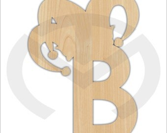 Unfinished Wood Initial with Jester Hat Laser Cutout, Door Hanger, Personalized, Mardi Gras Wall/Door Decor, Various Sizes