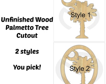Unfinished Wood Palmetto Tree Door Hanger Laser Cutout, Home Decor, Ready to Paint & Personalize, Summer, Various Sizes, 2 styles