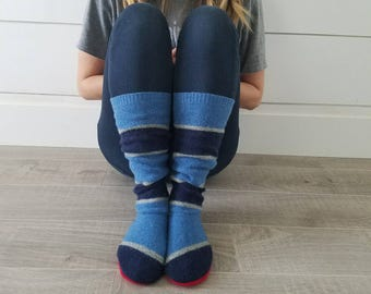 "Blue and Blue Sweater Socks // Size 5-8, 17"" Tall // Cabin Socks // upcycled wool sweater // Washable // Thick felted wool sole"