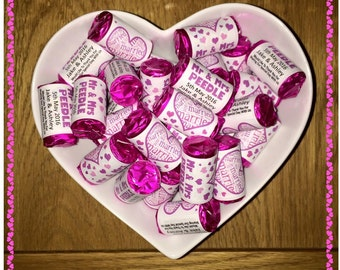 Wedding Favours - personalised mini rolls of Love Hearts Sweets - Just Married Mr and Mrs Mr and Mr Mrs and Mrs