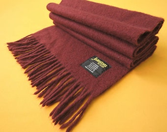 """Johnstons Of Elgin Scarf Cashmere Solid Pattern Red Vintage Muffler Foulard Shawl Wrap Made In Scotland 55"""" X 12"""""""