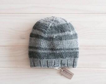 Mens wool beanie, warm winter hat for him, grey wool beanie, warm and cozy.