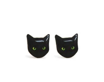 Black Cat Earrings - Cat Stud Earrings - Black Cat Stud Earrings - Hypoallergenic Surgical Steel Earrings -  Green Eye Cat Earrings