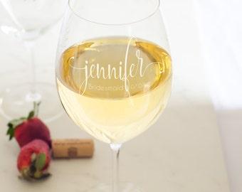 Engraved custom wine glasses - Bridesmaid gift from bride - custom wine glasses for wedding - Schott Zwiesel brand