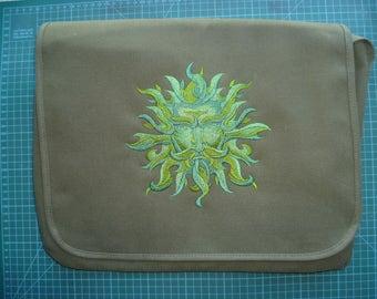 Green man Bag Messenger Bag Vintage Canvas Green man embroidered design