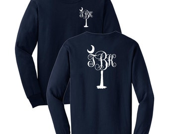 Palm Tree Monogrammed Long Sleeve T-shirt