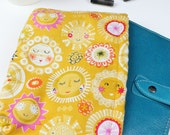 Planner Pouch Cover Sleeve Personal Filofax Kikki K Size Sunshine Face Cotton Print with fleece lining