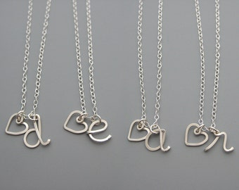 Heart Initial Necklace - personalized silver jewelry with heart and lowercase cursive letter, anniversary gifts