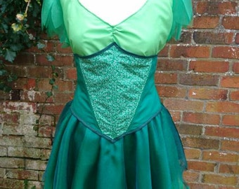 Custom Handmade Tinkerbell Peter Pan Fairy Pixie Costume Cosplay Fancy Dress Made To Measure