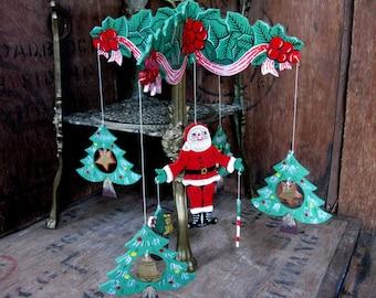 Christmas Mobile, 1970s Christmas, Wood Decoration, Wooden, Vintage Wood Decoration, Christmas Decoration, Kitsch, Vintage Christmas,