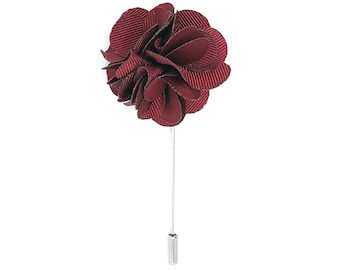 FLP1203 - Men's Flower Lapel Pin: Burgundy Silk Carnation. Fashion, Wedding Boutonniere. Lovely Lapels