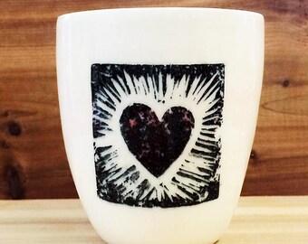 Frida porcelain cup • love • water • morning • breakfast • juice • wine • whiskey • scotch • heart •