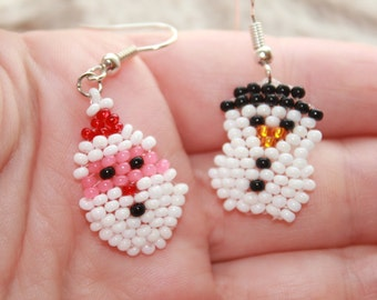 Christmas symbols Christmas jewelry gifts for girls New Year earrings santa earrings funny earrings snowman seed bead san