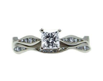 14k White Gold Square Modified Brilliant GIA Certified Diamond Wedding Set