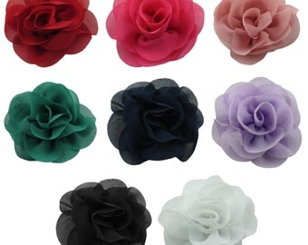 100pcs 65mm 2.5 inches Chiffon Rose Craft Flower Ornament