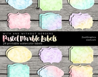 Pastel Marble Labels With And Without Borders, Printable, 24 png Labels, 1 PDF, Commercial Use, INSTANT DOWNLOAD
