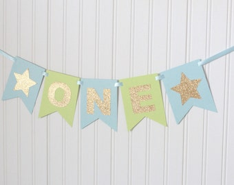 Gold baby Blue & Green ONE High Chair Banner Happy Birthday Banner/ Boy Birthday/ Prince Party/Child Birthday/Party Decorations/1st birthday
