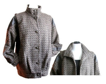 Vintage Tweed and Leather Jacket / Size Medium-Large / Unique Retro Coat  / by Elco / OSFM / Excellent Condition