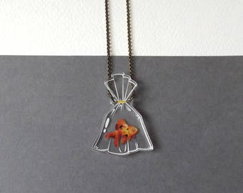 Goldfish in a Bag 2D Terrarium Faux Glass Bottle Necklace - Laser Cut Clear Acrylic - Pet Goldfish Aquarium Fish Bowl Terrarium Jewellery
