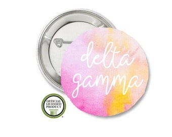 Delta Gamma Pin Back Button, Pin Back, Greek Button, Sorority gift, Big Little Gift, Delta Gamma Gift, DG, Pink Water Color