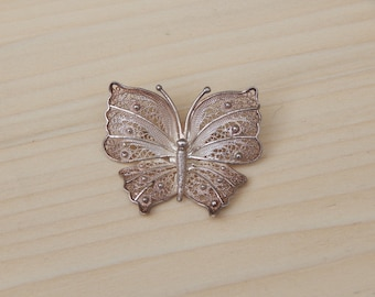 Sterling Silver Filigree Butterfly Brooch, Vintage Insect Jewerly Pin Brooch Silver Insect, Delicate Bug Moth Small Brooch