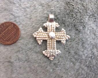 Ethiopian coptic cross, Antique, solid silver835, lost wax method. Shoa/Dessie border design. granulates, bail repaired,Top shelf boho jewel