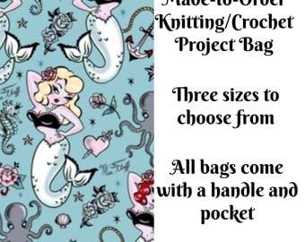Knitting Project Bag, Molly Mermaid, Sock Knitting, Zippered Bag, Crochet Bag, Sweater Project Bag, Large Bag, Octopus