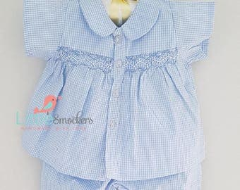 Hand smocked baby boys shirt and pant set - 3-6 months