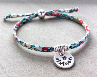 16th birthday gift,  sweet 16 gift, sweet 16 birthday, adjustable bracelet, sterling silver charm, Liberty of London fabric