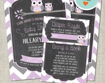 Owl Baby Shower Invitation, Owl Invitation, Owl, Purple, Gray, Chevron, Branch | DIY