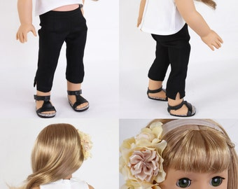 Handmade to fit like American Girl Doll Clothes, 18 Inch Doll Clothes, RETRO PARIS, Cropped White Blouse, Ankle Trousers, Headpiece, Sandals