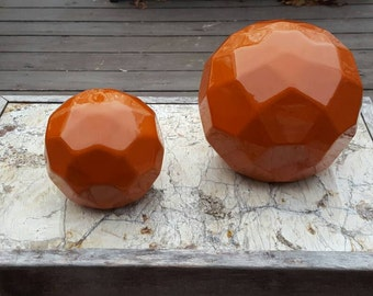 Jaru burnt orange or rust glazed hexehederons, modern art, geometrical shapes, set of 2